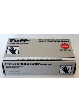 Disposable Nitrile gloves - Black, Powder Free (100/box)